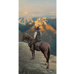 Reflections - Cowboy views Grand Canyon by artist William C. Phillips