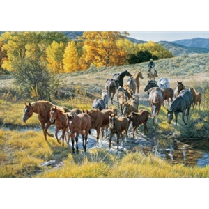 Crossing the Creek - pony round up by western artist Tim Cox