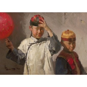 Dressed for the Festival - portrait of Chinese children by ethnic artist Mian Situ