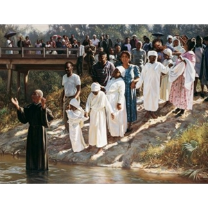 Down by the Water - congregation celebrating baptism by artist Evan Wilson