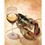 White Wine and Tails - Lobster with wine glass by Will Bullas