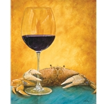 Crabernet - Crab with glass of red wine by humorist Will Bullas