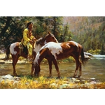Solitude - Indian brave at the river by western artist Howard Terpning