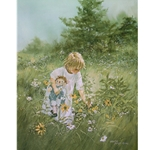 Summer's Season - Little Girl picking flowers by Carolyn Blish