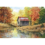 Golden Retreat - vacation spot in autumn by watercolor artist Luke Buck