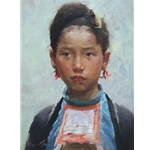 Miao Beauty - Portrait of young girl by artist Mian Situ