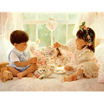 Two for Tea - Children's tea party by figurative artist Jean Monti