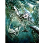 Cool Waters - Dolphins by marine artist Linda Thompson