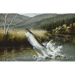 Leaping - Rainbow Trout by fisherman artist Maynard Reece