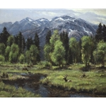 Calm and Free - Elk by western landscape artist Robert Peters