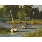 Resting on the River - Boats by artist Don Demers