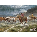 Turning the Lead Steer cattle drive adventure by western artist Jack Terry