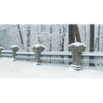 Afterglow - fresh snow on fence by artist Brent Townsend