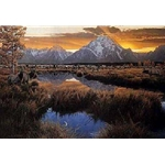 Day is Done, Gone the Sun - Elk in the Tetons by wildlife artist Rod Frederick