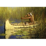 Solitary Hunter - Woodland Indian hunter in canoe by western artist Zhou S. Liang