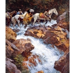 White Water Passage - Indians crossing mountain stream by western artist Howard Terpning