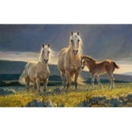 Golden Glory - Palomino mare, filly and foal by artist Nancy Glazier