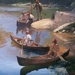 The Agile Bark Canoe by frontier artist John Buxton