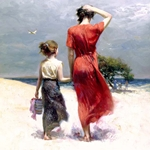 Afternoon Stroll - mother and daughter walking along shore by Mediterranean artist Pino