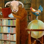 Cock and Bull Story - in a library by humorous artist Will Bullas