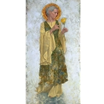 The Yellow Rose - saint with flower by religious artist James Christensen