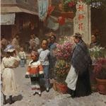 Chinese Flower Shop, San Francisco 1904 by ethnic artist Mian Situ