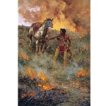 Test of Courage - Indian leading his horse through prairie fire by western artist Howard Terpning