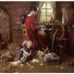 A Helping Hand - Pioneer woman spinning by artist Morgan Weistling