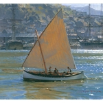 Below Telegraph Hill - lanteen rigged double ender by maritime artist Christopher Blossom