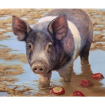Clotilda´s Perfect Day - Pig in the mud by artist Bonnie Marris