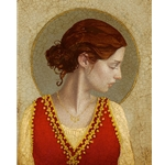 Saint Apollonia - Woman with red dress and halo by James Christensen