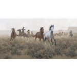 Breaking Back - wild horses by cowboy artist Jim Rey