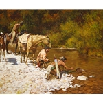 Prospectors Among the Blackfeet - panning gold in the Black Hills by western artist Howard Terpning