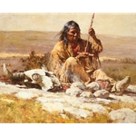 Seeking Wisdom Through the Pipe - shaman with bison skull by western artist Howard Terpning
