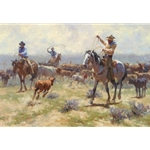 When It's All Workin' - roping calves by artist Jim Rey