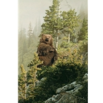 In Tall Timber - grizzly feeding by wildlife artist Rod Frederick