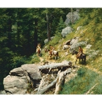 Trail in the Bitter Roots - Nez Perce Indians on the Lolo Trail by western artist Howard Terpning