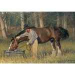 Long Time Friends - Man and his horse by artist Nancy Glazier