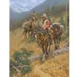 Mountain Trail - cowboys riding in the hills by artist Jim Rey
