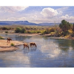 On the Little Colorado - horses in western landscape by artist Robert Peters