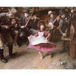 The Dance - young girl with cowby musicians by artist Morgan Weistling