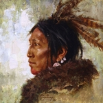 Hawk Feathers - portrait of North Plains Indian warrior by Howard Terpning