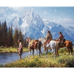 River's Edge - on the Snake in Tetons by western artist Martin Grelle