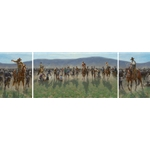 Sandhills Spring - cowboys roping and branding triptych by Jim Rey