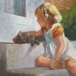 Me and My Shadow - little girls with her cat by artist Susan Blackwood