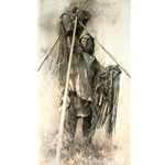 Guarding the Lodge - Blackfoot Warrior & Sacred Bundles by Howard Terpning
