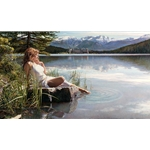Canadian Beauty - woman at Lake Louise, Alberta by Artist Steve Hanks