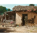 Down Mexico Way - stucco house and mule by artist George Hallmark