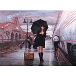 There are Places to go - girl waiting at Albuquerque Railroad Station by Steve Hanks