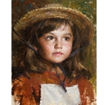 Straw Hat - portrait of young girl in her hat by artist Morgan Weistling